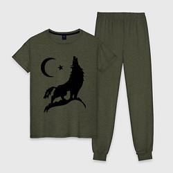 Пижама хлопковая женская Кавказский волк цвета меланж-хаки — фото 1