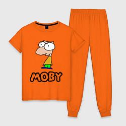Пижама хлопковая женская Moby цвета оранжевый — фото 1