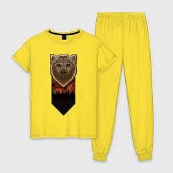Пижама хлопковая женская Медведь: владыка леса цвета желтый — фото 1