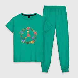 Пижама хлопковая женская Peace flowers цвета зеленый — фото 1