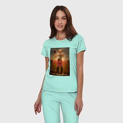 Пижама хлопковая женская American Gods: Czernobog цвета мятный — фото 2
