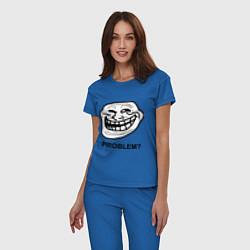 Пижама хлопковая женская Trollface. Problem? Проблемы? цвета синий — фото 2