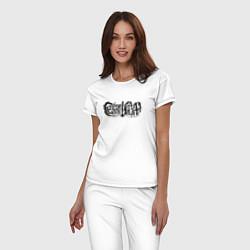 Пижама хлопковая женская Сектор Газа цвета белый — фото 2
