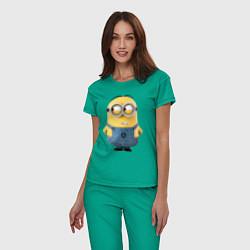 Пижама хлопковая женская Хитрый Миньон цвета зеленый — фото 2