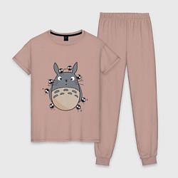 Пижама хлопковая женская Тоторо цвета пыльно-розовый — фото 1