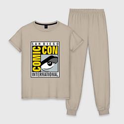 Пижама хлопковая женская Comic con San Diego цвета миндальный — фото 1