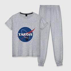 Пижама хлопковая женская Tardis NASA цвета меланж — фото 1