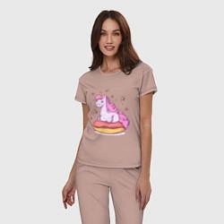Пижама хлопковая женская Единорог на пончике цвета пыльно-розовый — фото 2