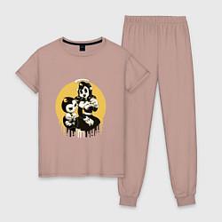 Пижама хлопковая женская Bendy and the ink machine цвета пыльно-розовый — фото 1