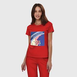 Пижама хлопковая женская Беломор: Хабаровский край цвета красный — фото 2