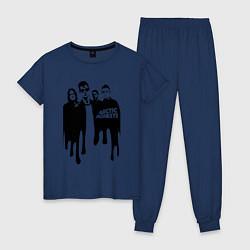 Пижама хлопковая женская Arctic Monkeys цвета тёмно-синий — фото 1
