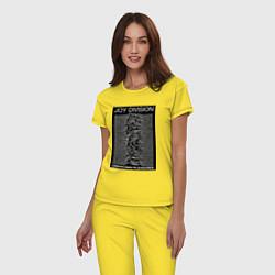 Пижама хлопковая женская Joy Division: Unknown Pleasures цвета желтый — фото 2