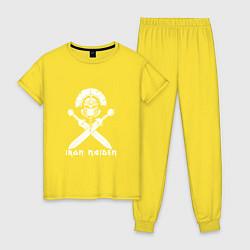 Пижама хлопковая женская Iron Maiden цвета желтый — фото 1