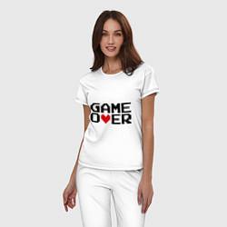 Пижама хлопковая женская Game over 8 bit цвета белый — фото 2