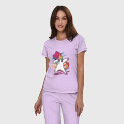 Пижама хлопковая женская Единорог кидает даб цвета лаванда — фото 2