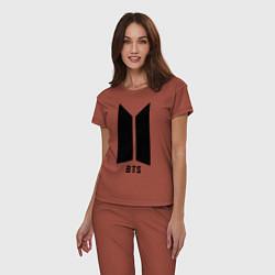 Пижама хлопковая женская BTS Army цвета кирпичный — фото 2