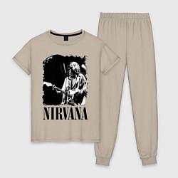 Пижама хлопковая женская Black Nirvana цвета миндальный — фото 1