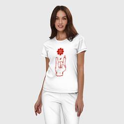 Пижама хлопковая женская RHCP Rock цвета белый — фото 2