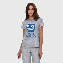 Пижама хлопковая женская Vote Waldo цвета меланж — фото 2