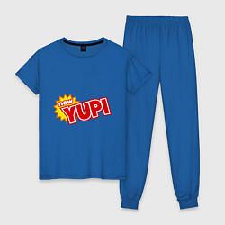 Пижама хлопковая женская Yupi цвета синий — фото 1