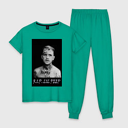 Пижама хлопковая женская RIP Lil Peep цвета зеленый — фото 1