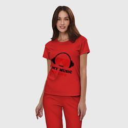 Пижама хлопковая женская My music my life цвета красный — фото 2