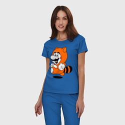 Пижама хлопковая женская Mario In Tanooki Suit цвета синий — фото 2