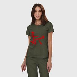 Пижама хлопковая женская Иероглиф: любовь цвета меланж-хаки — фото 2