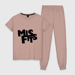 Пижама хлопковая женская Misfits цвета пыльно-розовый — фото 1