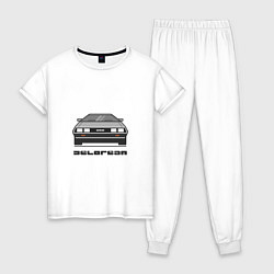 Пижама хлопковая женская DeLorean цвета белый — фото 1