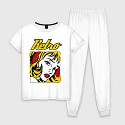 Пижама хлопковая женская Retro girl цвета белый — фото 1