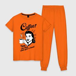 Пижама хлопковая женская When youre dead цвета оранжевый — фото 1