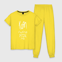 Пижама хлопковая женская Korn: Falling away from me цвета желтый — фото 1