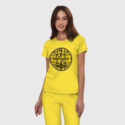 Пижама хлопковая женская Fallout: Please stand by цвета желтый — фото 2