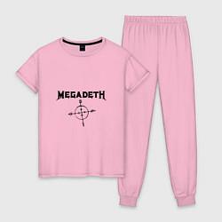 Пижама хлопковая женская Megadeth Compass цвета светло-розовый — фото 1
