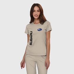 Пижама хлопковая женская Subaru Style цвета миндальный — фото 2