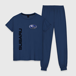 Пижама хлопковая женская Subaru Style цвета тёмно-синий — фото 1