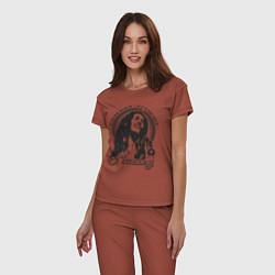 Пижама хлопковая женская Bob Marley: Island цвета кирпичный — фото 2