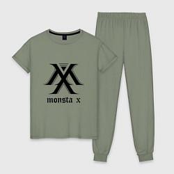 Пижама хлопковая женская Monsta X цвета авокадо — фото 1
