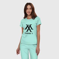 Пижама хлопковая женская Monsta X цвета мятный — фото 2