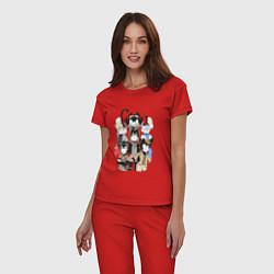 Пижама хлопковая женская Bendy Heroes цвета красный — фото 2