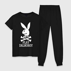 Пижама хлопковая женская Play Dalnoboy цвета черный — фото 1