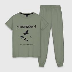Пижама хлопковая женская Shinedown: Sound of Madness цвета авокадо — фото 1