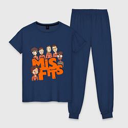 Пижама хлопковая женская MisFits Heroes цвета тёмно-синий — фото 1