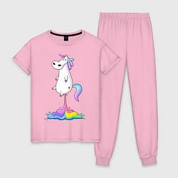 Пижама хлопковая женская Взлет единорога цвета светло-розовый — фото 1
