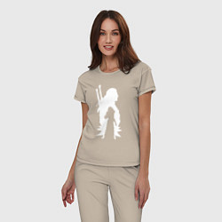 Пижама хлопковая женская Силуэт Ведьмака цвета миндальный — фото 2