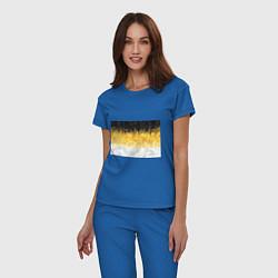 Пижама хлопковая женская Имперский флаг пикселами цвета синий — фото 2