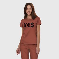 Пижама хлопковая женская YE$ цвета кирпичный — фото 2