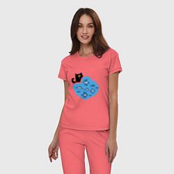 Пижама хлопковая женская Кот программиста цвета коралловый — фото 2