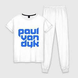 Пижама хлопковая женская Paul van Dyk: Filled цвета белый — фото 1